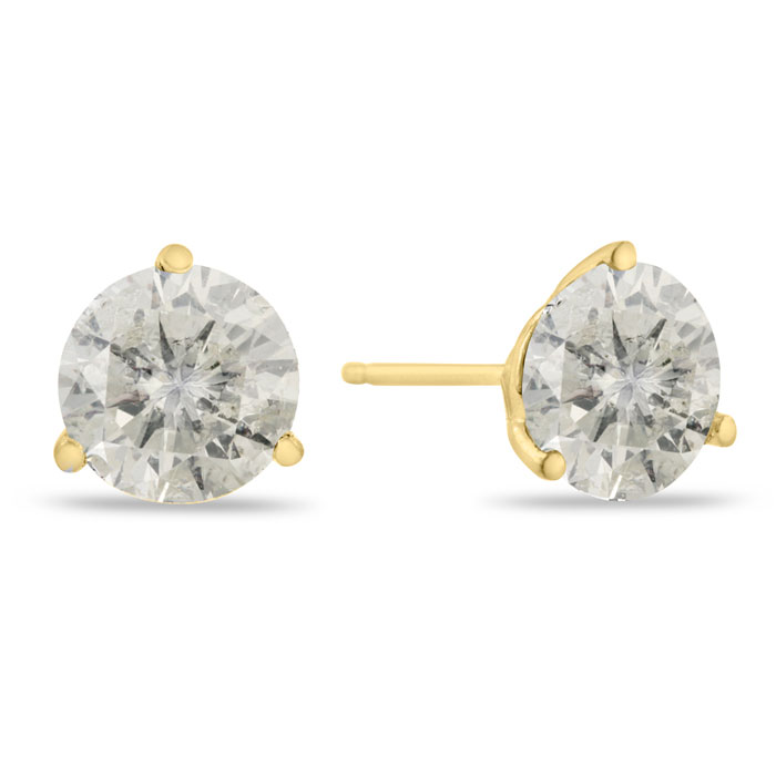 2 Carat Round Cut Diamond Stud Earrings in 14K Yellow Gold (2 g),