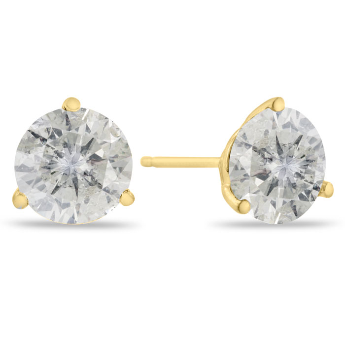2 Carat Round Cut Clarity Enhanced Diamond Stud Earrings in 14K Y