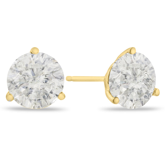 2 Carat Round Cut Clarity Enhanced Diamond Yellow Gold Stud Earri