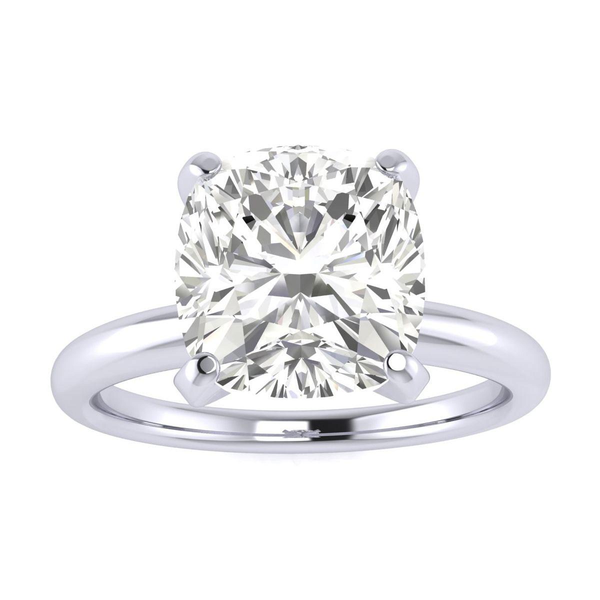 3 Carat Cushion Cut Diamond Engagement Ring in 14k White Gold (6.