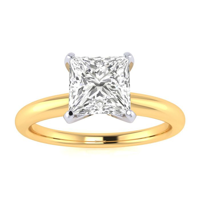 1 Carat Princess Cut Diamond Solitaire Engagement Ring in 14K Yel