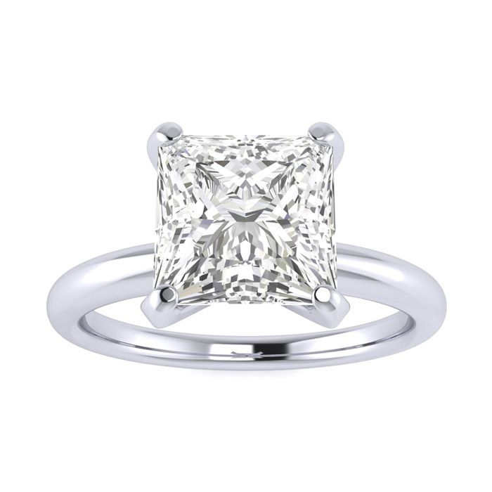 2 Carat Princess Cut Diamond Solitaire Engagement Ring in 14K Whi