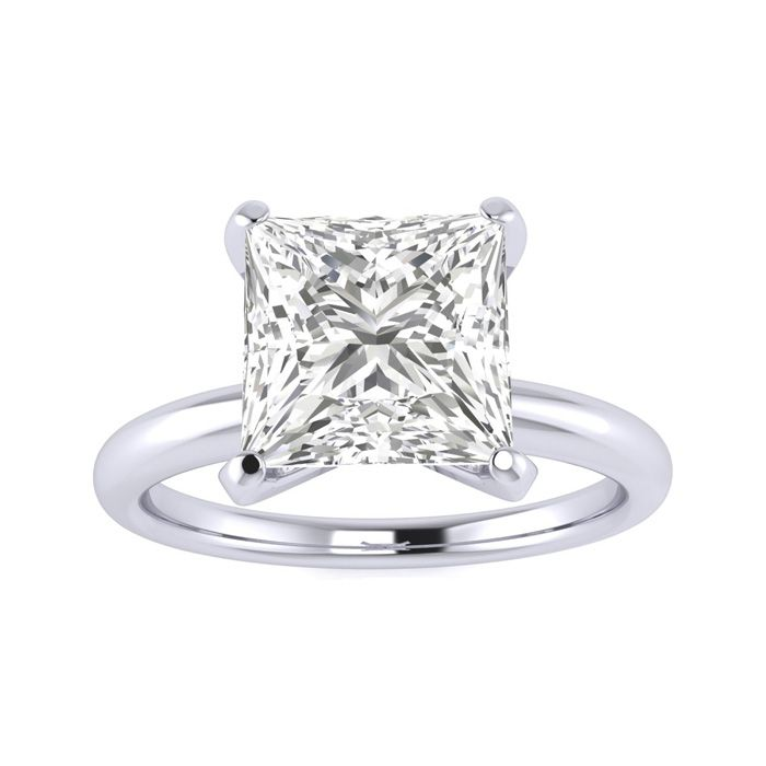 2.5 Carat Princess Cut Diamond Solitaire Engagement Ring in 14K White Gold (2 g) (