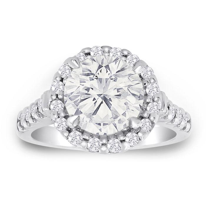 3.50 Carat Halo Diamond Engagement Ring in 18K White Gold (6.3 g)