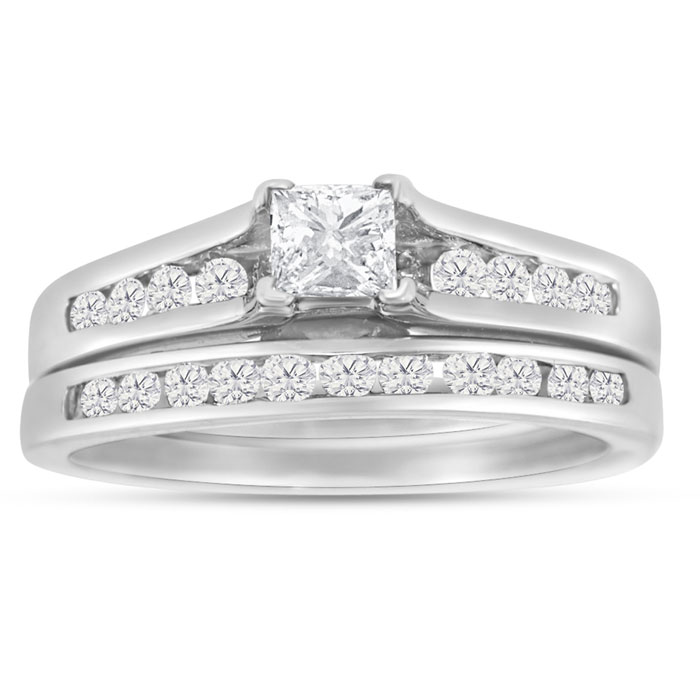 1/2 Carat Princess Cut & Round Diamond Bridal Ring Set in 14k Whi