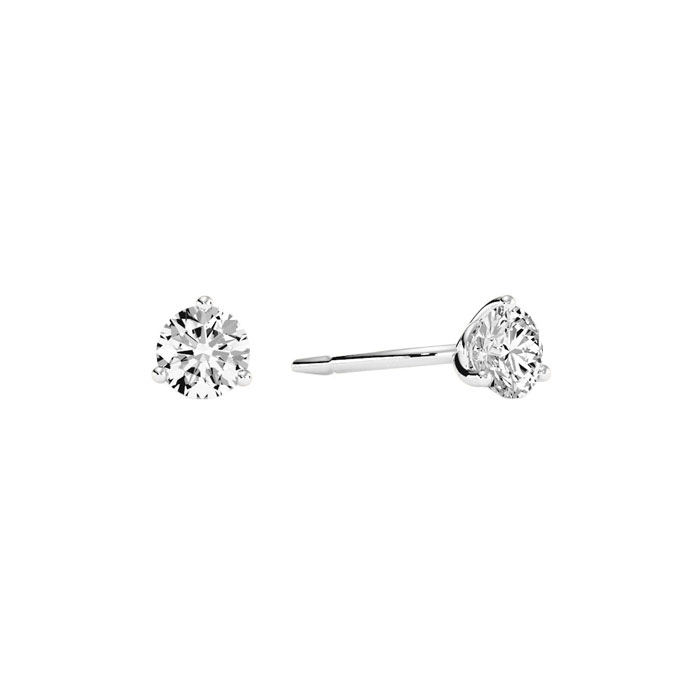 1/4 Carat Round Diamond Stud Earrings in 14k White Gold w/ Martin