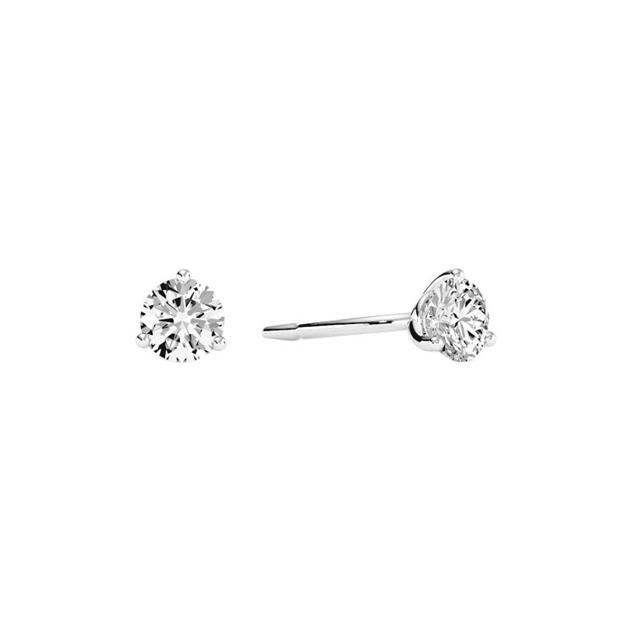 1/3 Carat Round Diamond Stud Earrings in 14k White Gold w/ Martin