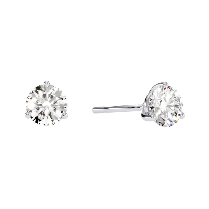 1 Carat Round Diamond Stud Earrings in 14k White Gold w/ Martini