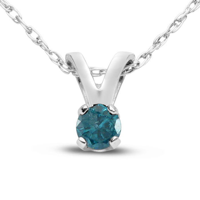 "Blue Diamond Solitaire Pendant Necklace (1/10 ct) in Sterling Silver w/ 18"" Chain, 18 Inch Chain by SuperJeweler"