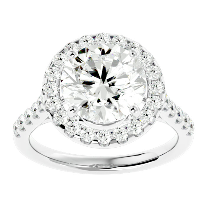 Image of 5.46 Carat Diamond 18 Karat White Gold Engagement Ring Including a 5.03 Carat Round Center Diamond