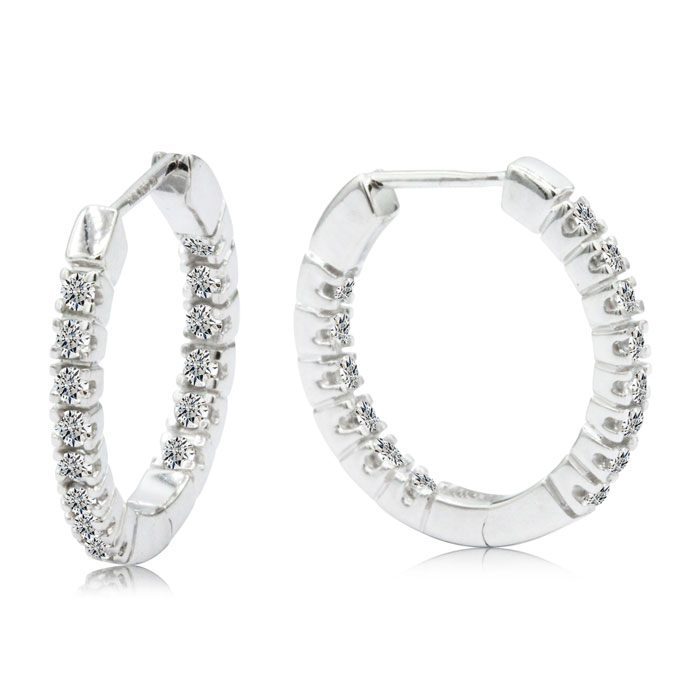 1/4 Carat Inside-Out Style Diamond Hoop Earrings in 14k White Gol