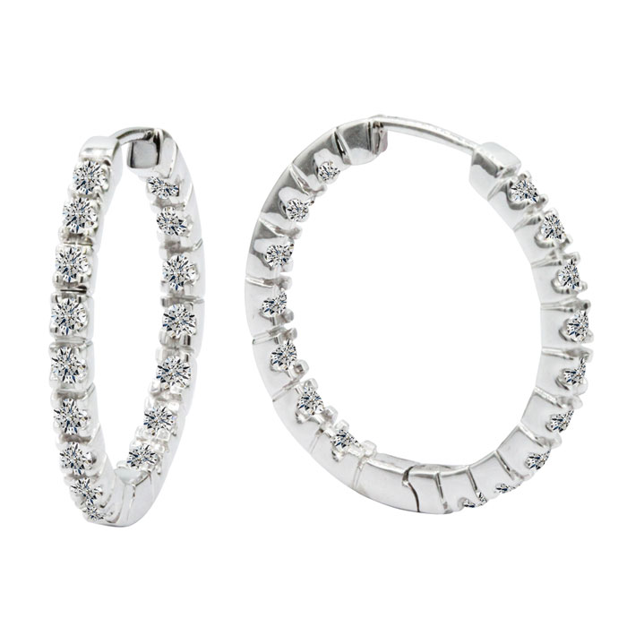 1/2 Carat Inside-Out Style Diamond Hoop Earrings in 14k White Gol