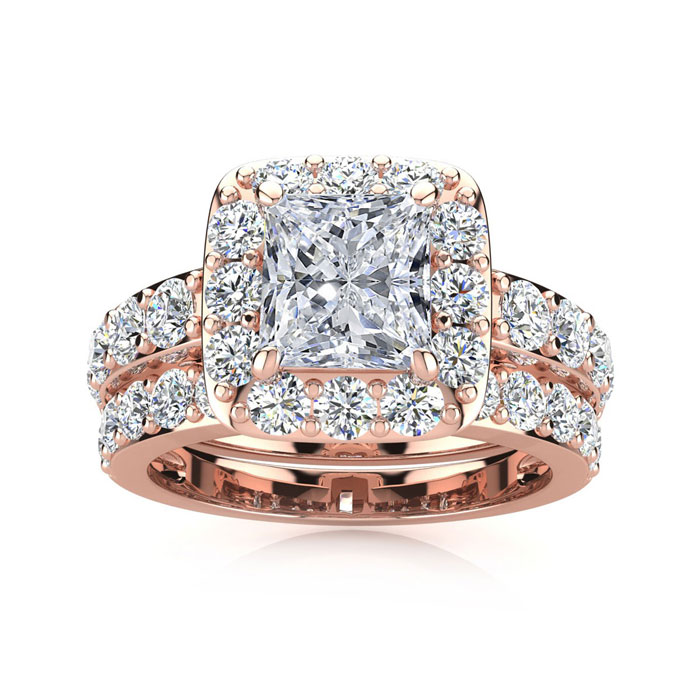 2 1/4 Carat Radiant Cut Halo Diamond Bridal Engagement Ring Set i