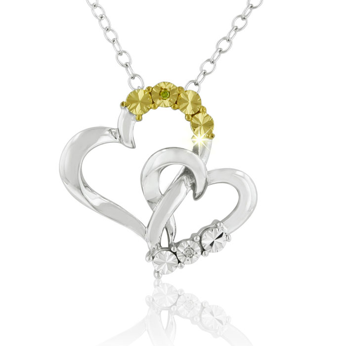 "Diamond Accent Heart Pendant Necklace in Sterling Silver, 18"", J/K, 18 Inch Chain by SuperJeweler"