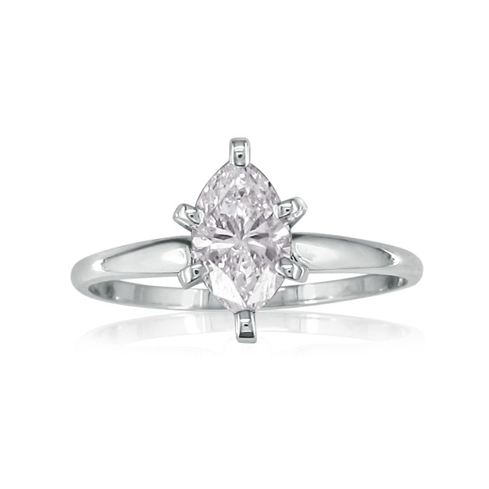 1/3 Carat Marquise Diamond Solitaire Ring in 14k White Gold (H-I,