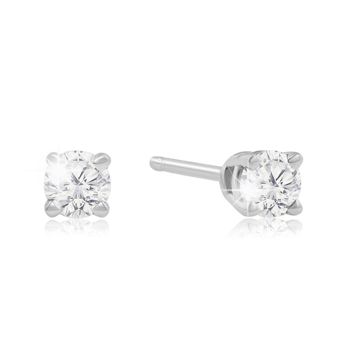 1/4 Carat Diamond Stud Earrings in White Gold, K/L by SuperJewele