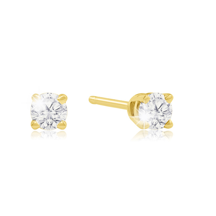 1/4 Carat Diamond Stud Earrings in Yellow Gold, K/L by SuperJewel