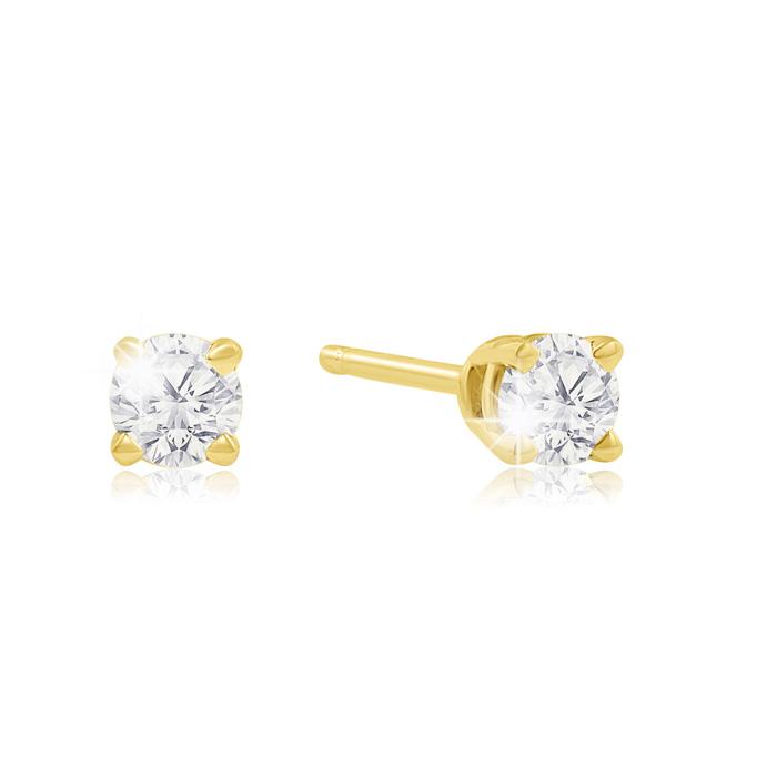 1/4 Carat Diamond Stud Earrings in Yellow Gold, K/L by SuperJeweler