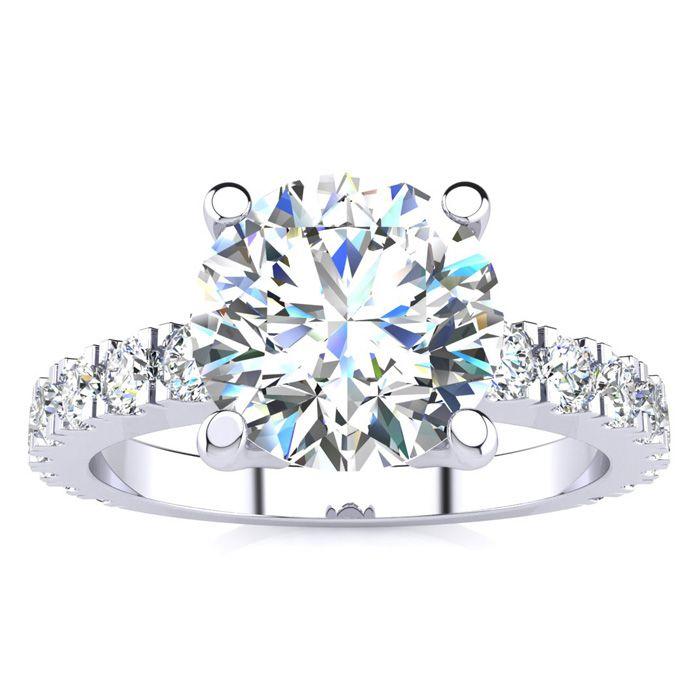 3 Carat Fine Diamond Engagement Ring In 14 Karat White Gold