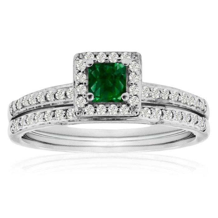 1/2ct Pave Emerald and Diamond Bridal Set