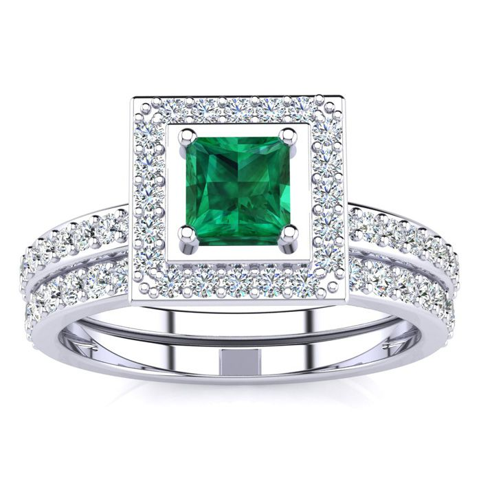 1 Carat Princess Cut Emerald & Diamond Bridal Engagement Ring Set in 14k White Gold (H-I, SI2-I1) by SuperJeweler