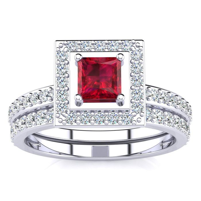 1 Carat Princess Cut Ruby & Diamond Bridal Engagement Ring Set in 14k White Gold (H-I, SI2-I1) by SuperJeweler