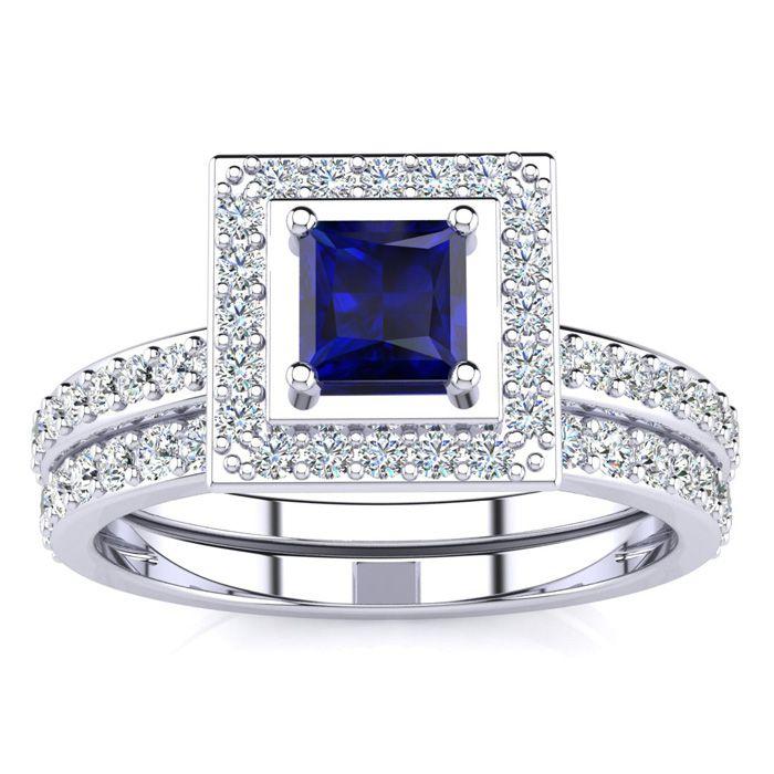 1 Carat Princess Cut Sapphire & Diamond Bridal Engagement Ring Se