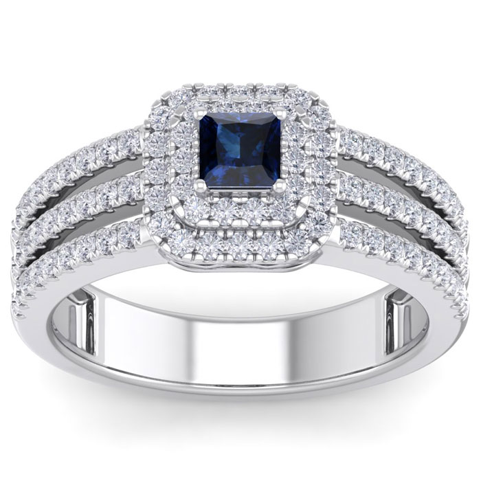 1.62ct Sapphire and Diamond Engagement Ring in 14k White Gold
