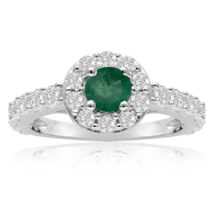 1.5 Carat Halo Diamond & Emerald Cut Engagement Ring in 14K White