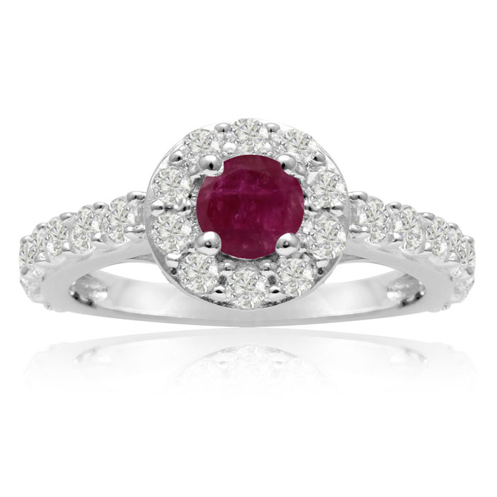 1.5 Carat Halo Diamond & Ruby Engagement Ring in 14K White Gold (