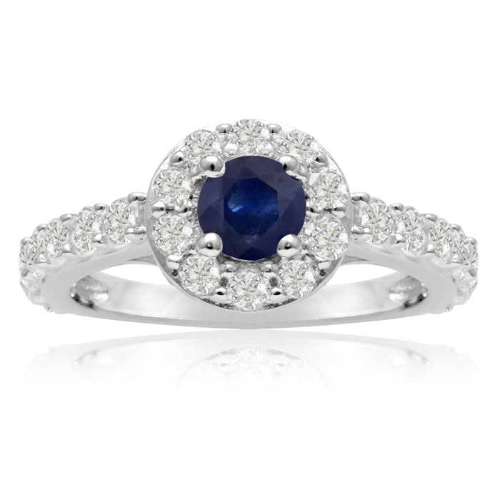 1.6ct Halo Sapphire and Diamond Engagement Ring in 14k White Gold