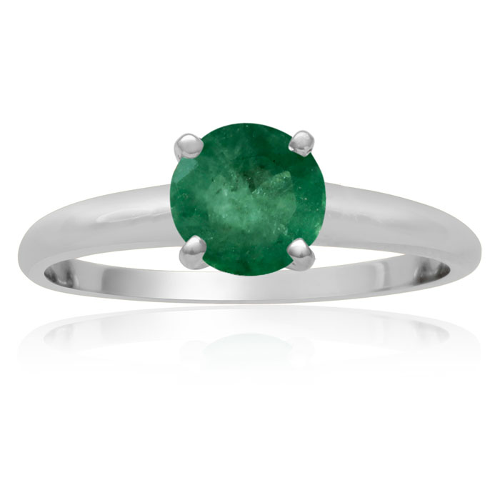 1 Carat Emerald Solitaire Engagement Ring Crafted in Solid White
