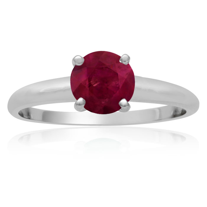 1 Carat Ruby Solitaire Engagement Ring Crafted in Solid White Gol