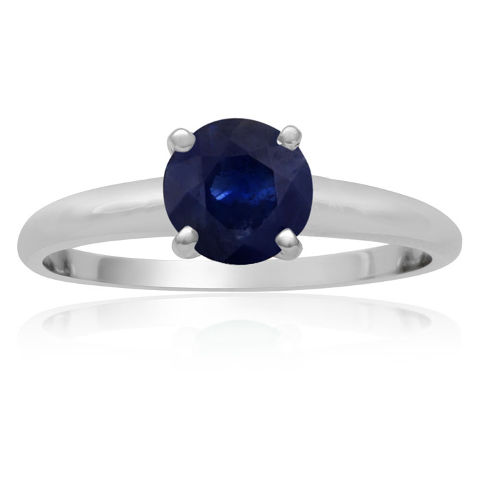 1 Carat Sapphire Solitaire Engagement Ring Crafted in Solid White Gold by SuperJeweler