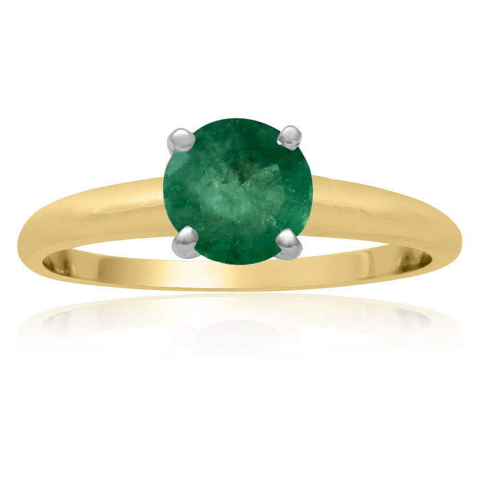1 Carat Emerald Solitaire Engagement Ring Crafted in Solid 14K Ye