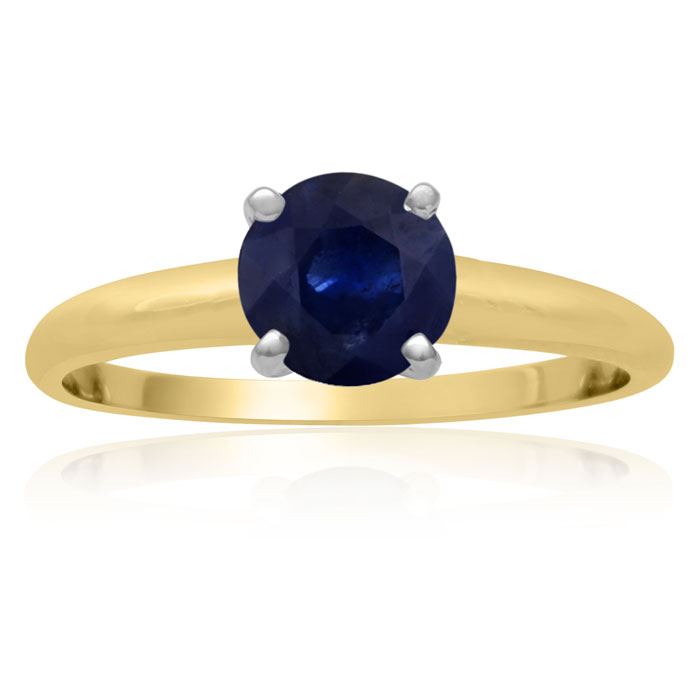 1 Carat Sapphire Solitaire Engagement Ring Crafted in Solid 14K Yellow Gold by SuperJeweler