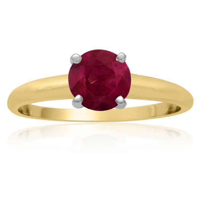 1 Carat Ruby Solitaire Engagement Ring Crafted in Solid 14K Yello