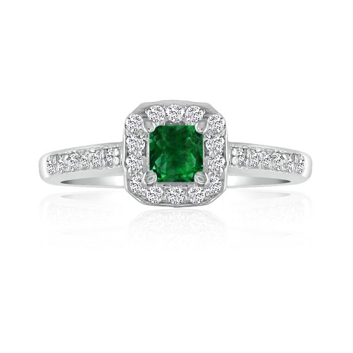 Hansa 2/3 Carat Emerald Cut & Diamond Princess Cut Engagement Rin