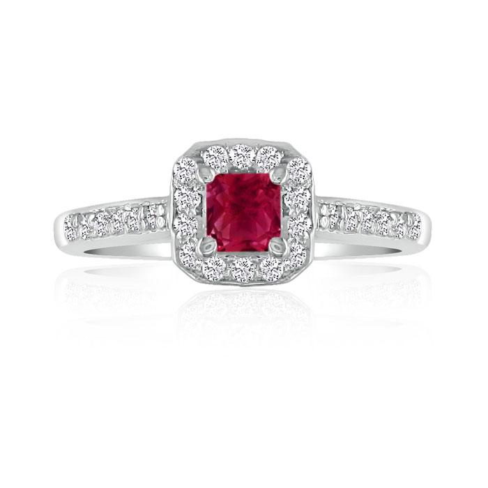 Hansa 2/3 Carat Ruby & Diamond Princess Cut Engagement Ring in 14