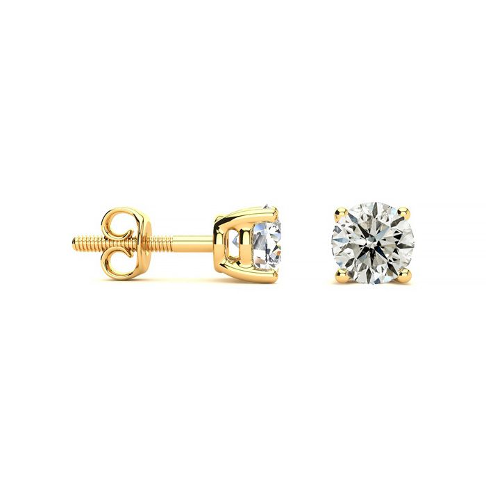 1 Carat Diamond Stud Earrings in 14k Yellow Gold, J/K by Hansa