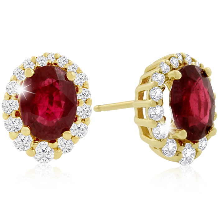 3.20 Carat Fine Quality Ruby & Diamond Earrings in 14K Yellow Gol