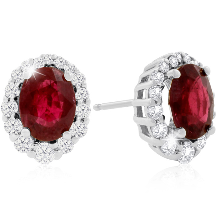 3.20 Carat Fine Quality Ruby And Diamond Earrings In 14K White Gold