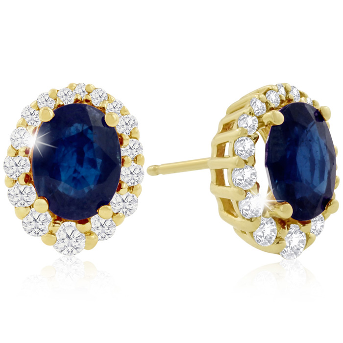 3.20 Carat Fine Quality Sapphire & Diamond Earrings in 14K Yellow