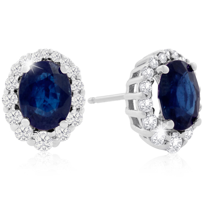3.20 Carat Fine Quality Sapphire & Diamond Earrings in 14K White