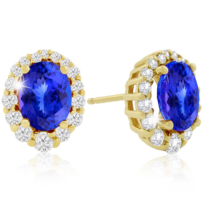 3 Carat Fine Quality Tanzanite & Diamond Earrings in 14K Yellow G
