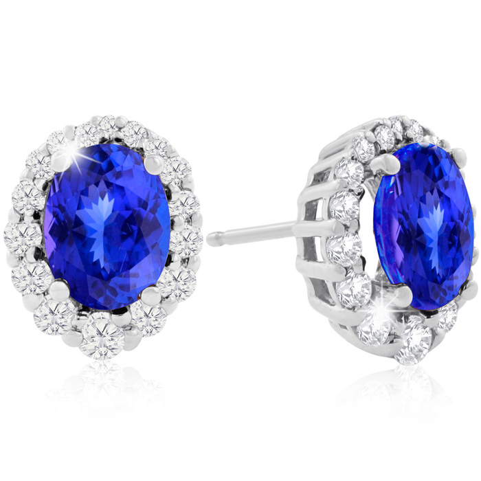 3 Carat Fine Quality Tanzanite & Diamond Earrings in 14K White Gold (3.2 g), H/I by Hansa