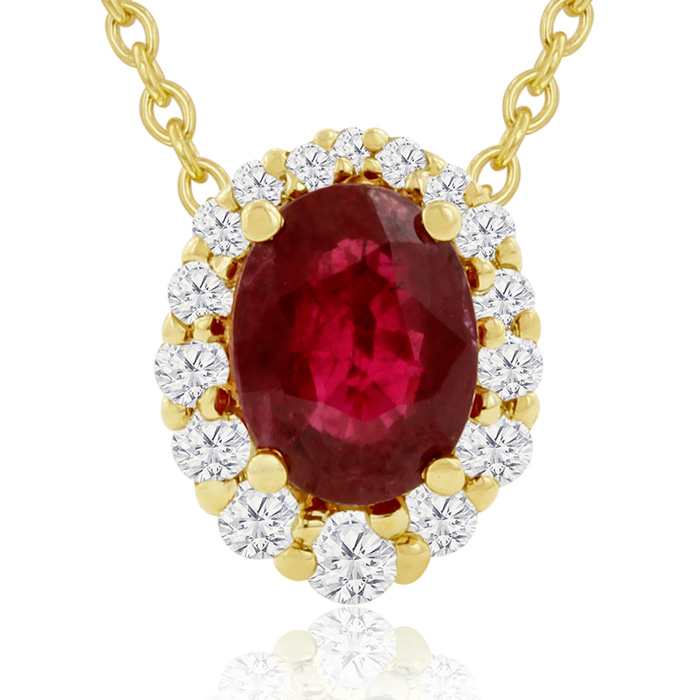 2.90 Carat Fine Quality Ruby & Diamond Necklace in 14K Yellow Gol