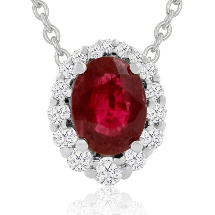 2.90 Carat Fine Quality Ruby & Diamond Necklace in 14K White Gold (2.9 g), H/I, 18 Inch Chain by Hansa