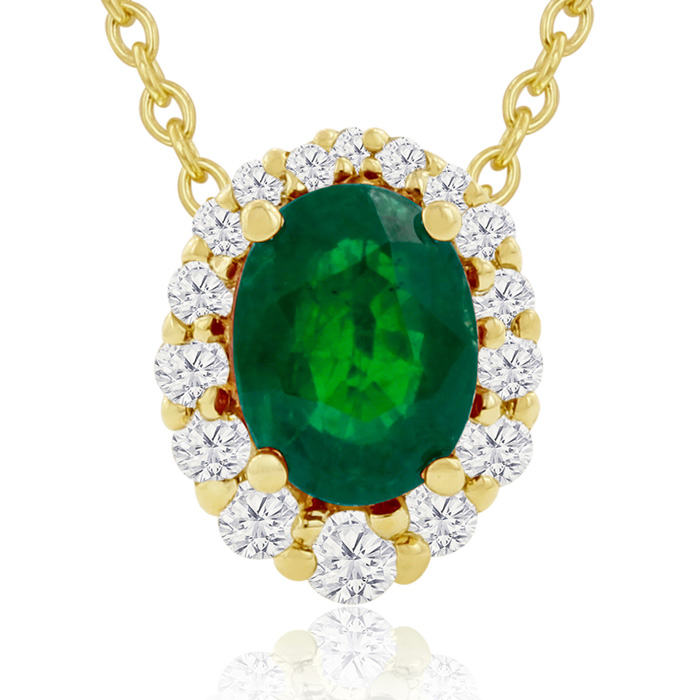 2.90 Carat Fine Quality Emerald And Diamond Necklace In 14K Yellow Gold