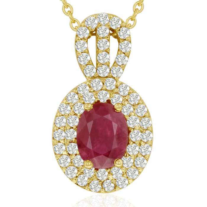 3.50 Carat Fine Quality Ruby & Diamond Necklace in 14K Yellow Gol